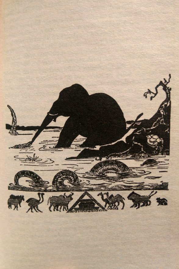"""This is the Elephant's Child having his nose pulled by the Crocodile..."""